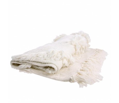 HK-living Bedspread white cotton 125x150cm