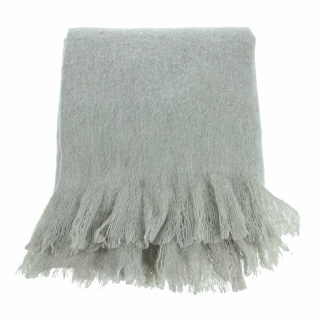 HK-living Lebende Decke Mintgrün Acryl, Wolle, Polyester 125x150cm