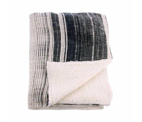 HK-living Woondeken zwart wit katoen fleeche 130x160cm
