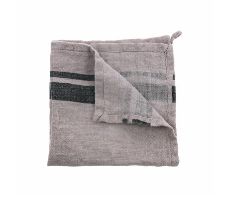 HK-living Napkins natural brown linen set of 2