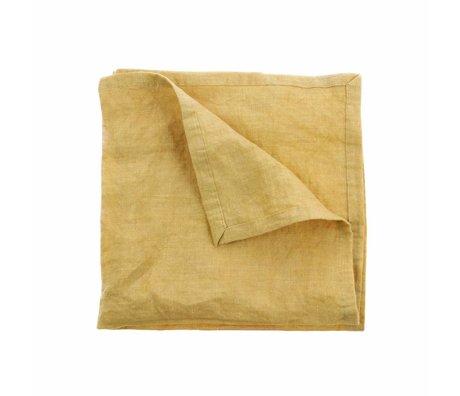 HK-living Lot de 2 serviettes en lin jaune