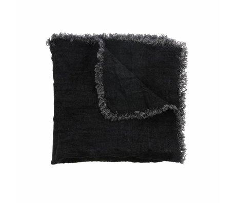HK-living Lot de 2 serviettes de table en lin noir anthracite