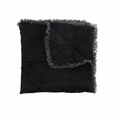 HK-living Napkins charcoal black linen set of 2