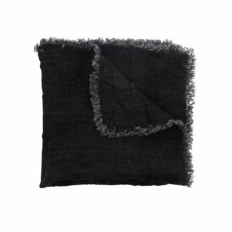 HK-living Servetten houtskool zwart linnen set van 2
