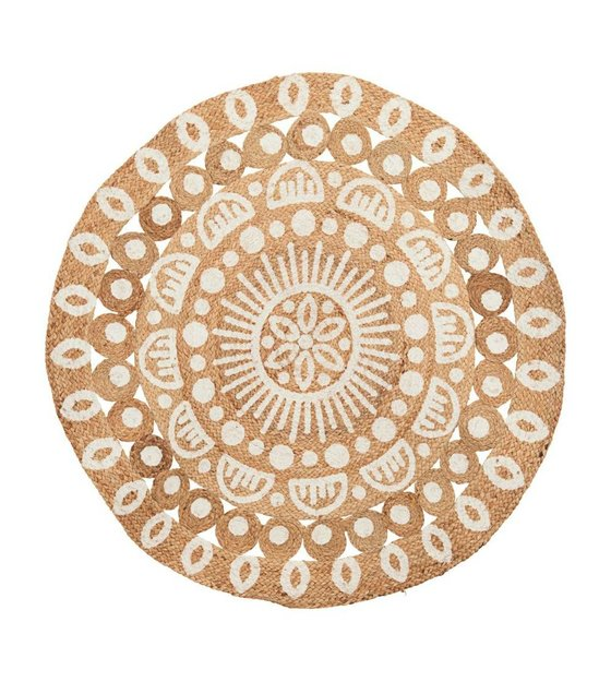 brown and white rug. because of the circular shape and design, this rug brings a bohemian look to your interior. carpet is made from brown white t