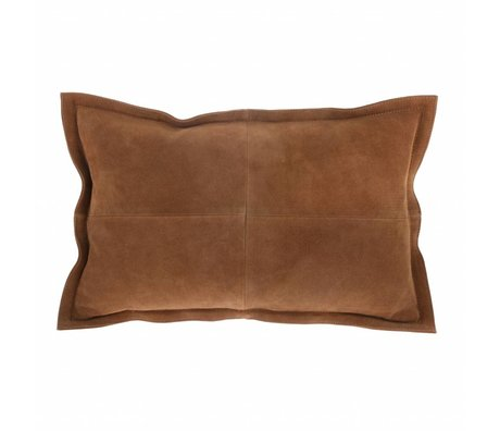HK-living Throw pillow brown suede 50x35cm