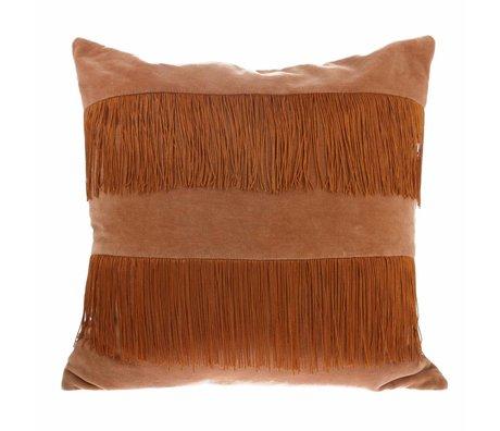 HK-living Cushion peach brown velvet 50x50cm