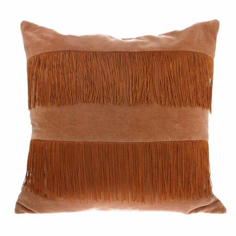 HK-living Sierkussen perzik bruin velvet 50x50cm