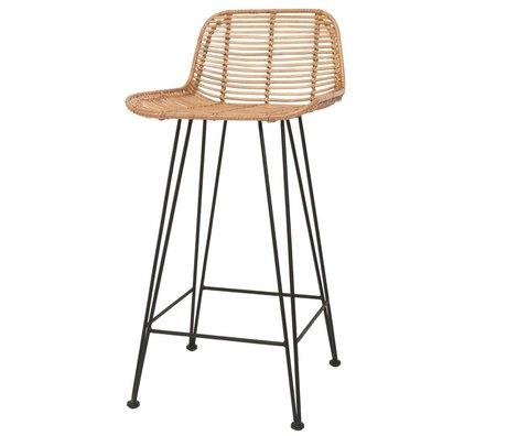 HK-living Bar stool rattan light natural 42x47x89cm damage