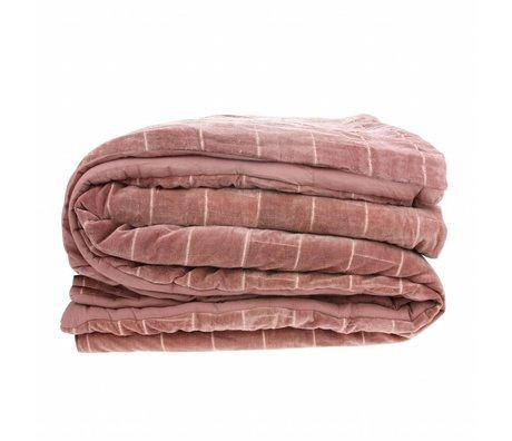 HK-living Bedsprei Shabby nude roze velvet 230x250cm