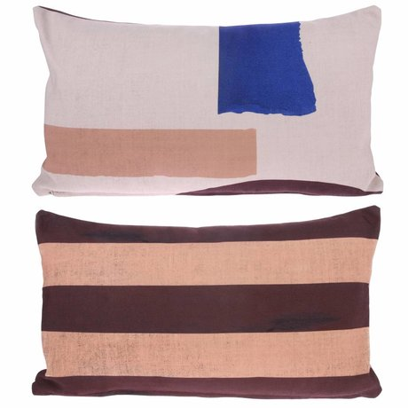 HK-living Coussin Abstract multicour coton 35x60cm
