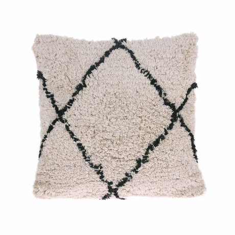 HK-living Throw pillow diamond black cream cotton 50x50cm