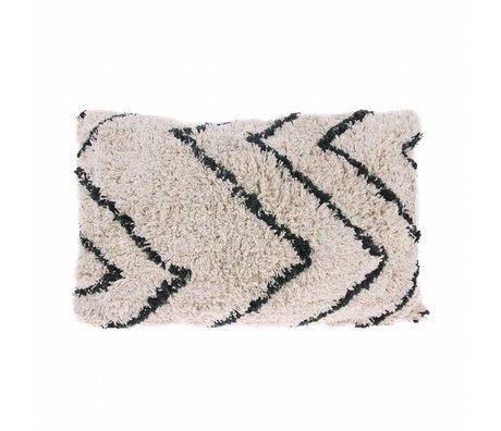 HK-living Sickle pillow Zigzag black cream cotton 40x60cm