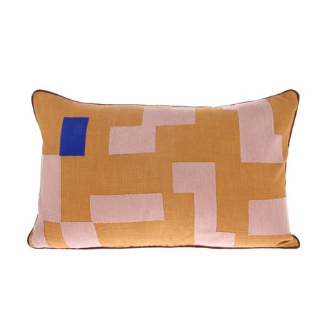 HK-living Cushion yellow pink velvet 60x35cm