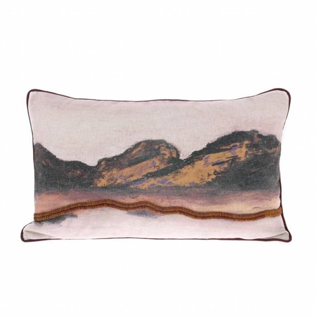 HK-living Throw pillow Landscape multicolour linen 60x35cm