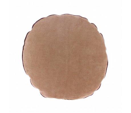 HK-living Coussin en velours côtelé brun ø40cm