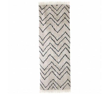 HK-living Vloerkleed Runner zigzag zwart crème katoen 75x220cm