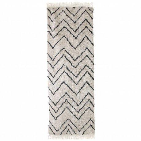 HK-living Tapis Runner zigzag noir crème coton 75x220cm
