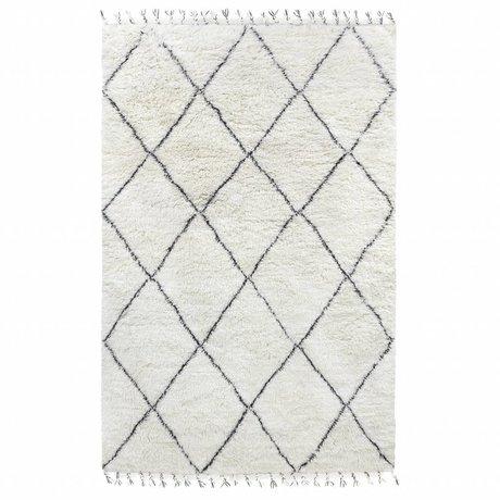 HK-living Teppich Berber schwarz cremefarbene Wolle 200x300cm