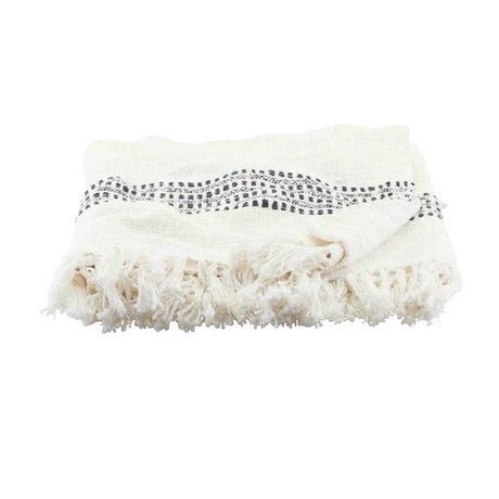 Housedoctor Plaid Kolonia cassé coton blanc 180x130cm