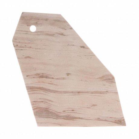HK-living Planche à découper en marbre rose 32x18x1,5cm