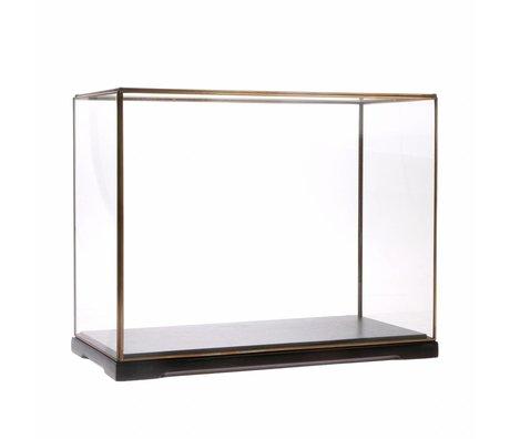 HK-living Glazen stolp L transparant glas metaal 40x20x32cm