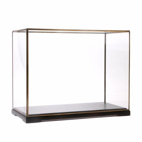HK-living Cloche en verre L verre transparent métal 40x20x32cm