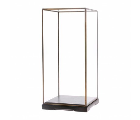 HK-living Glazen stolp M transparant glas metaal 18x18x40cm