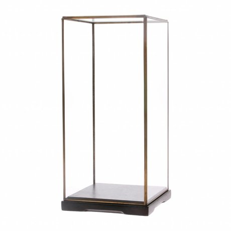 HK-living Glasglocke M transparentes Glas Metall 18x18x40cm