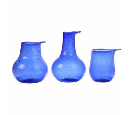 HK-living Vase cobalt blue recycled glass set of 3