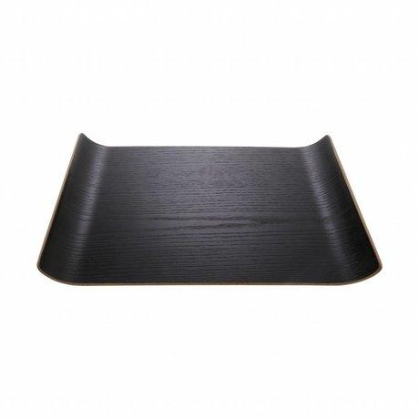 HK-living Dienblad M zwart wilgenhout 26x25x3cm