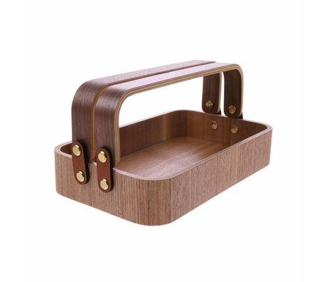 HK-living Bol avec 2 poignées en bois de saule brun 23x13,5x6cm