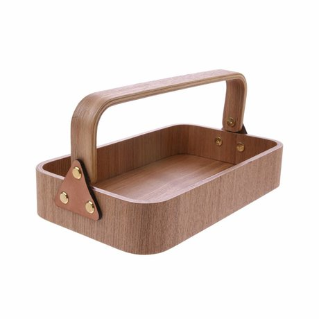 HK-living Tray with handle brown willow wood 23x13.5x6cm
