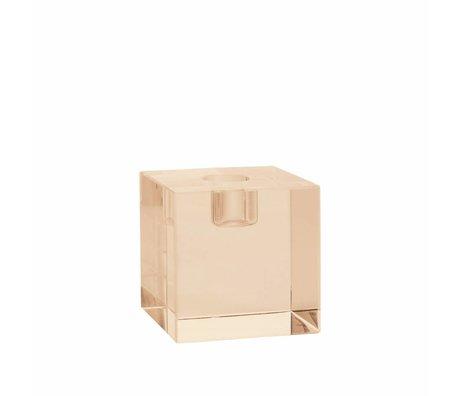 HK-living Kaarsenhouder kubus amber kristalglas 7x7x7cm