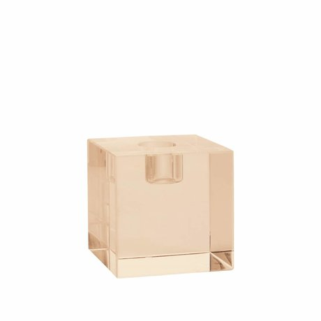 HK-living Candle holder cube amber crystal glass 7x7x7cm