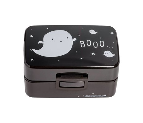 A Little Lovely Company Luncbox Ghost black white plastic 15,5x8x11,5cm