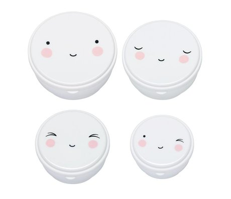 A Little Lovely Company Snack box Happy Face white plastic set of 4