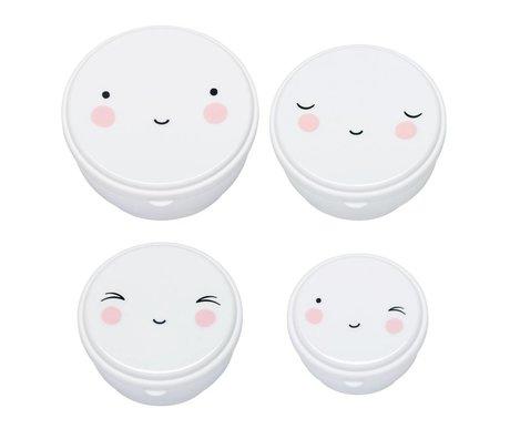 A Little Lovely Company Snackbox Happy Face weiß Kunststoff 4er Set