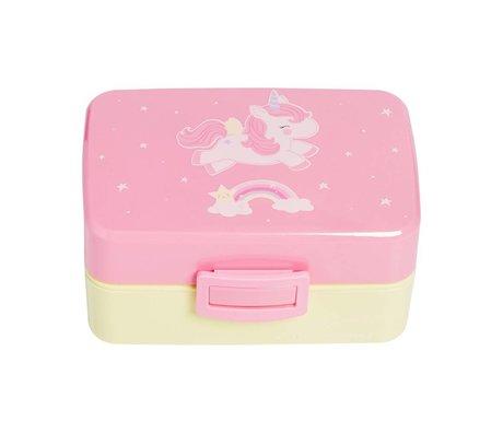 A Little Lovely Company Lunchbox Eenhoorn roze geel kunststof 15,5x8x11,5cm