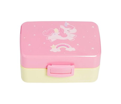 A Little Lovely Company Lunchbox Einhorn rosa gelb Kunststoff 15,5x8x11,5cm