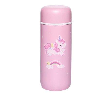 A Little Lovely Company Bouteille à boire Unicorn rose en acier inoxydable Ø6,5x16,7cm