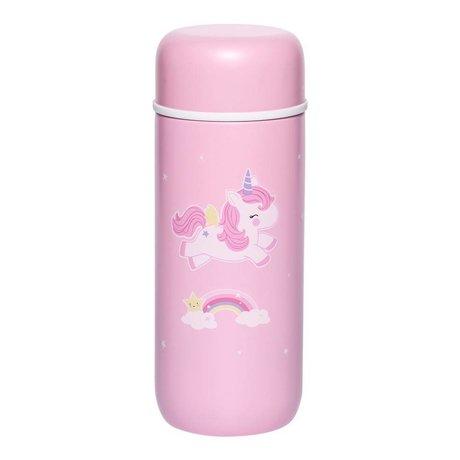 A Little Lovely Company Drinkfles Eenhoorn roze RVS Ø6,5x16,7cm