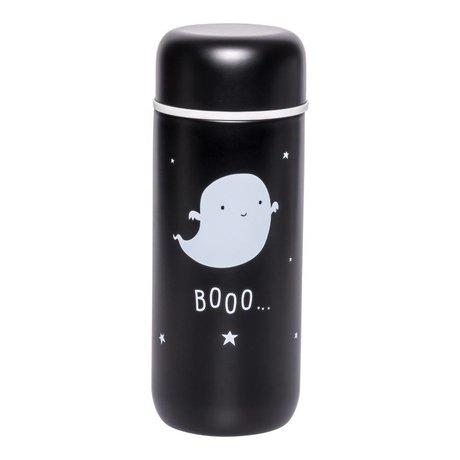 A Little Lovely Company Bouteille à boire Ghost acier inoxydable noir et blanc Ø6,5x16,7cm