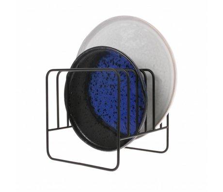 HK-living Dish holder mat black metal 15x15x15cm