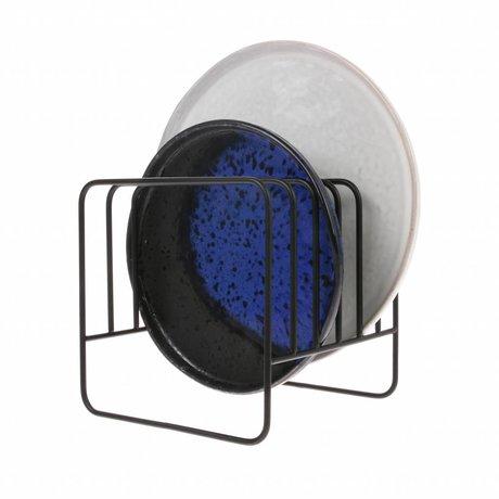 HK-living Geschirrhalter Matte schwarz Metall 15x15x15cm