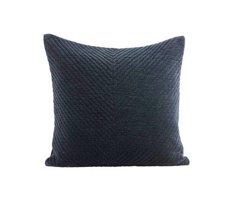 Housedoctor Housse de coussin Velv bleu foncé coton 50x50cm