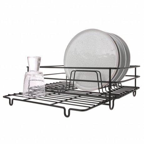 HK-living Dish holder mat black metal 15x125x15cm