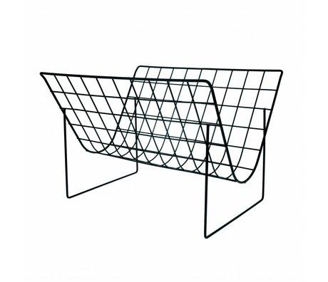 HK-living Tijdschriftenrek mat zwart metaal 40x32x29cm