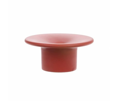 HK-living Candle holder mat red ceramic 10,5x10,5x5cm