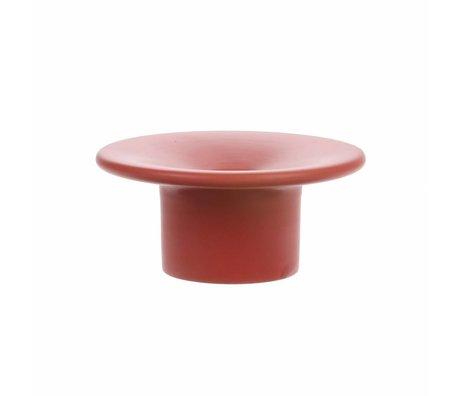 HK-living Candle holder matt red ceramic 10.5x10.5x5 cm